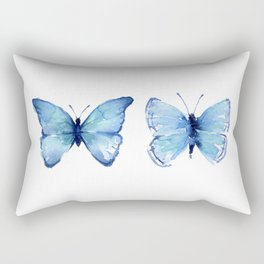 Two Blue Butterflies Watercolor Rectangular Pillow