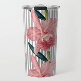 Pink Orchids And Grey Pinstripes Travel Mug