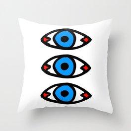 Three Open Eyes Throw Pillow