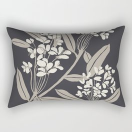 Boho Botanica Black Rectangular Pillow