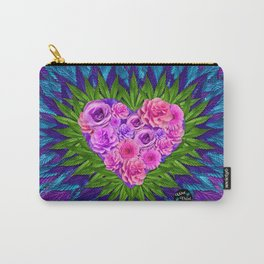 Floral Heart with Cannabis Leaves Carry-All Pouch