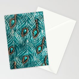 Peacock Feathers in Chic Emerald Green Diamonds Stationery Cards