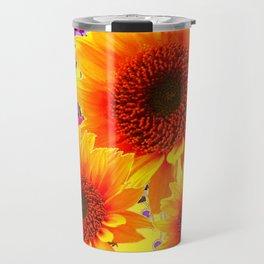 Colorful Sunflowers Purple Floral Art Travel Mug