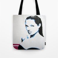 angelina jolie Tote Bags featuring Angelina Jolie by VenusArtist