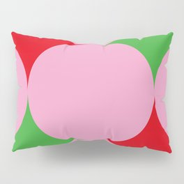 Pink balls hiding a beautiful red and green carpet. Or red and green stars in a pink Space ? Pillow Sham