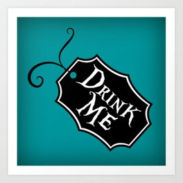 """Drink Me"" Alice in Wonderland styled Bottle Tag Design in 'Alice Blue' Art Print"