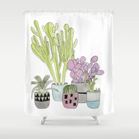 cactus Shower Curtains featuring Cactus by Olivia James