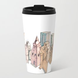 the city painted in pastel colours . illustration . art Travel Mug