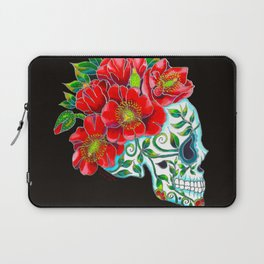 Sugar Skull with Red Poppies Laptop Sleeve
