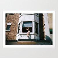 Girl in a window Art Print
