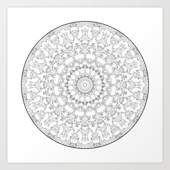 Cat Mandala Doodle Art Print