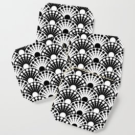 black and white art deco inspired fan pattern Coaster