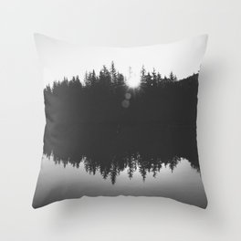 Wooded Lake Reflection Black and White Throw Pillow