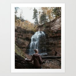 Girl standing infront of waterfall Photography Art Print