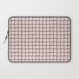 Back to School- Simple Grid Pattern - Black & Pink - Mix & Match with Simplicity of Life Laptop Sleeve