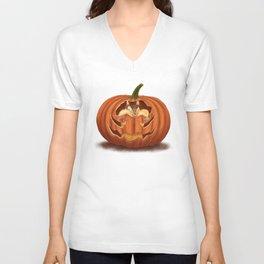 Chipmunk Eats Pumpkin Unisex V-Neck