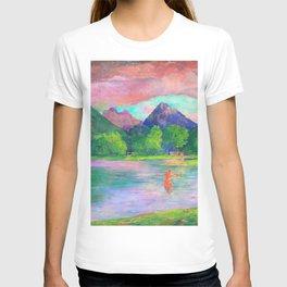 John La Farge - The Entrance to the Tautira River, Tahiti. Fisherman Spearing a Fish - Digital Remastered Edition T-shirt
