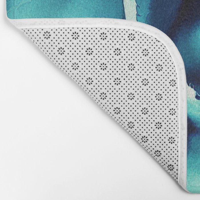 Macro Turquoise Plant Bath Mat