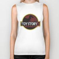 toy story Biker Tanks featuring toy story / jurassic park by tshirtsz