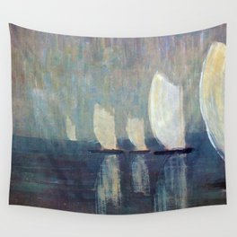 Sailboats on Mirrored Glass Seas nautical landscape by Mikalojus Konstantinas Ciurlionis Wall Tapestry