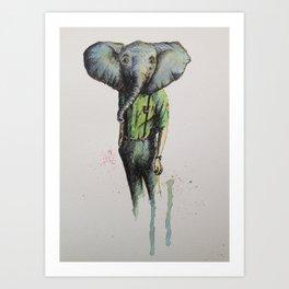 Elephant in Casual Wear Art Print
