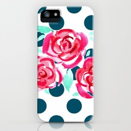 Tea Party -  Pink Roses on Teal Polka Dots iPhone Case