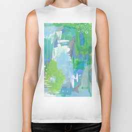 Green and Blue Abstract Art, Turquoise Gray Blue White Painting, Green Artwork Biker Tank
