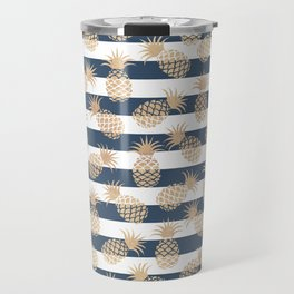 Nautical modern navy blue white stripes blush beige pineapple Travel Mug