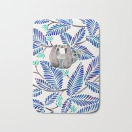 Happy Sloth – Tropical Blue Leaves Bath Mat