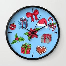 Christmas pattern (#1 blue) Wall Clock