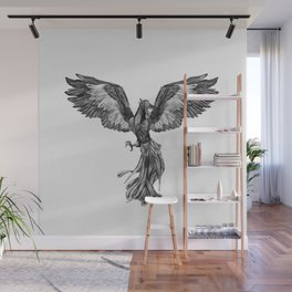 Phoenix Rising - Black and White Wall Mural