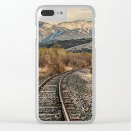 Railroad Tracks Curving Toward the Mountains and Disappearing Clear iPhone Case