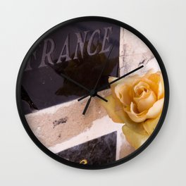 """""""La France"""" and the yellow rose at Pere Lachaise Cemetery - Photograph Wall Clock"""
