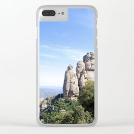 Landscape of Montserrat mountain in Catalonia, Spain Clear iPhone Case