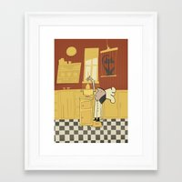 cooking Framed Art Prints featuring Cooking Cats by Rosha (Roisin Hahessy)