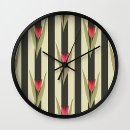 Spring flowers. Tulips are red. Retro. Wall Clock