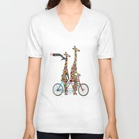 karen V-neck T-shirts featuring giraffe days lets tandem by bri.buckley
