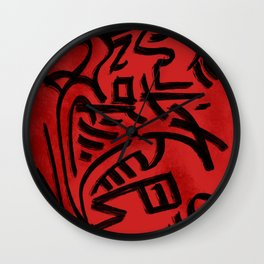 Nation of Fire and Coal Red Abstract Pattern Wall Clock