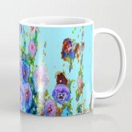 MODERN BLUE WESTERN GARDEN  PURPLE PANSY FLOWERS Coffee Mug