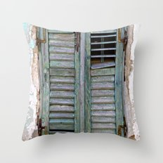 Closed Window Shutters in South Europe Throw Pillow