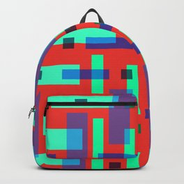 Blue and Green Block City on Red Backpack