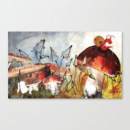 Snail on a Mushroom Poster Canvas Print