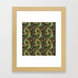 Abstract pattern with scale, waves and plants Framed Art Print