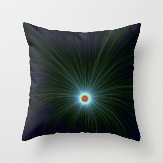 Green and Blue Color Explosion Throw Pillow