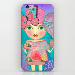 Be Free Mixed Media Whimsical Girl iPhone Skin