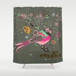 Gray Blossom Shower Curtain