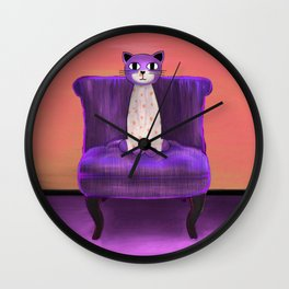 Elegant Cat violet Wall Clock