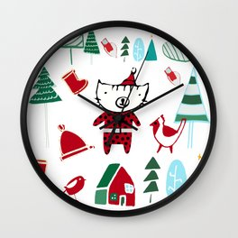 Cute christmas cat white Wall Clock