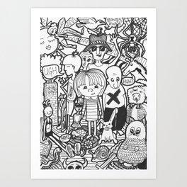 A crowd of crazies Art Print