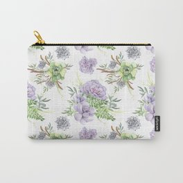Desert Succulents Purple and Green Carry-All Pouch